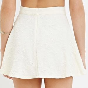 Floral Mattelassé Skater Skirt in Cream